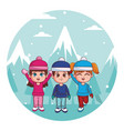 cute winter children cartoon vector image