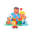 dad playing with little son and toys poster vector image vector image