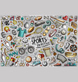 doodle cartoon set sports theme objects vector image