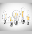 Filament Led Lightbulbs Realistic Set vector image vector image