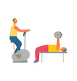 gym training exercise bike and weight lifting vector image