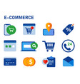 icon set collection e-commerce smartphone vector image vector image