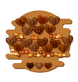 Love you chocolate card with hearts letters and
