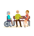man sits with girl on bench woman in chair vector image
