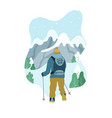 man with backpack hiking to the top of mountain vector image vector image
