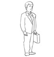 Man with suitcase line art small vector image