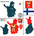 map of lapland finland vector image vector image