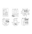 natural organic milk hand drawn retro labels set vector image
