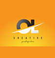 ol o l letter modern logo design with yellow vector image vector image