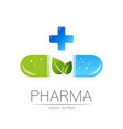 pharmacy symbol with green leaf vector image vector image