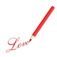 Red pencil and love letter vector image vector image