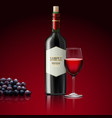 red wine with bottle of champagne and grapes vector image vector image