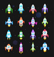 rocket icons set space ship transport vector image