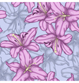 seamless background with violet lilies vector image vector image