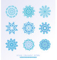 set of blue snowflakes vector image vector image