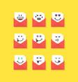 set of emoji messages in letters vector image