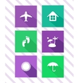 Set of flat travel icons vector image vector image