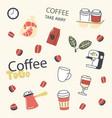 set takeaway coffee supplies cezve package vector image