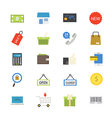 Shopping and Online Shopping Flat Icons color vector image
