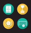soccer championship flat design long shadow icons vector image