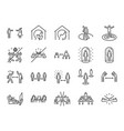 social distancing line icon set vector image