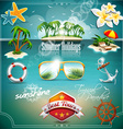 Summer Holiday Icon set on blue sea background vector image vector image
