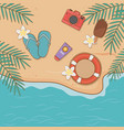 summer vacations items on beach airview scene vector image