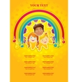 three happy children in a rainbow and the sun vector image