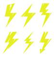 thunder and bolt lighting polygonal flash logo set vector image