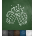 two mugs of beer icon vector image vector image