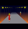 women are walking on a lonely road vector image