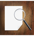 Wooden Background With Magnifying Glass And Paper vector image