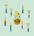 group of people money to box funding creativity vector image