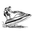 Hand sketch rider on a jet ski vector image