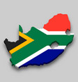 3d isometric map south africa with national vector image