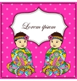 Background with baby girl twins vector image vector image