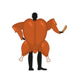 baked turkey mascot man promoter man dressed as vector image vector image