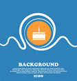 Birthday cake icon sign Blue and white abstract vector image