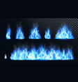 blue fire flame realistic set vector image