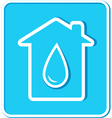 blue sticker with water drop and house vector image