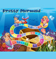 boardgame template with mermaids underwater vector image vector image