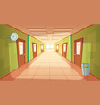 cartoon school or college hallway vector image vector image