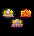 casino icons winner jackpot and big win vector image