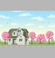classic house with flowering trees vector image vector image