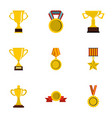 Competition and success icons set flat style vector image