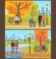 couple standing on bridge and feeding birds vector image vector image