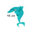 cute laughing shark cartoon character funny blue vector image