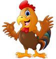 cute rooster cartoon waving hands vector image vector image