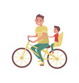 dad with little boy riding on bicycle happy vector image