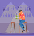 depressed man with beer flat style design vector image